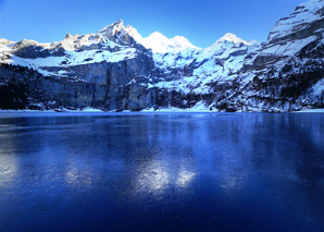 Fishing in the ice on the Oeschinensee