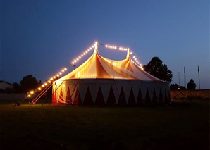Torchlit walk to the circus tent