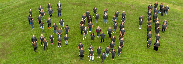 A human logo photographed by drone