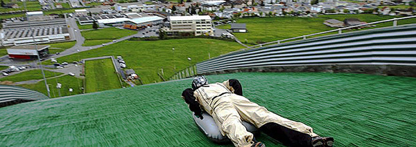 Airboarding on the ski jump slope