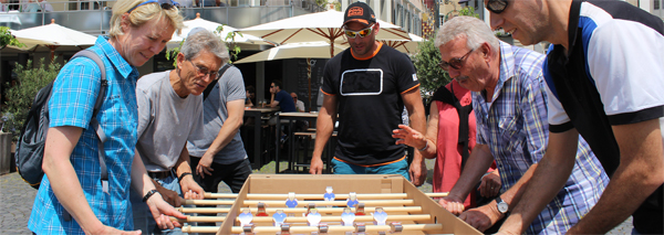 table soccer box building with match