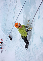 Climbing on ice in the Berner Oberland