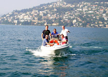 GPS motor boat treasure hunt on Lake Lugano